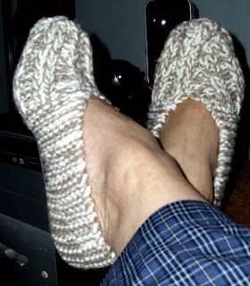 block 'n tackle knitting slipper pattern.  My Nana used to make these for me.  In fact I have a pair in my drawer.