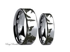 Wolf Ring, Couples Wedding Ring, Wedding Band Sets, Tungsten Band, Tungsten Rings, His and Hers, Promise Rings, Wolf Band, Wolf Jewelry by RingsParadise on Etsy