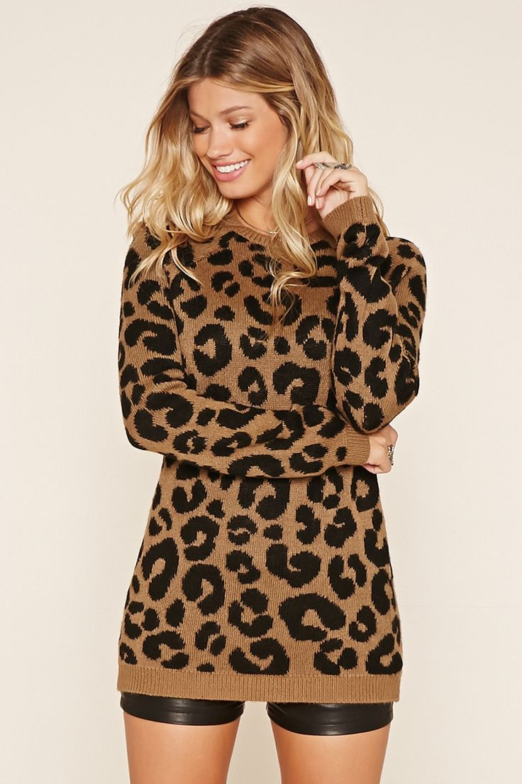 - A knit sweater featuring an allover cheetah print, a round neckline, long raglan sleeves, and contrast ribbed trim.
