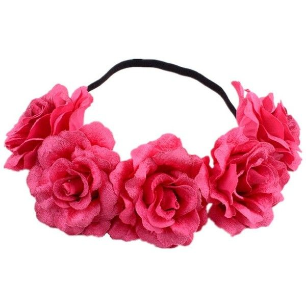 DreamLily Rose Flower Crown Wedding Festival Headband Hair Garland... ($9.99) ❤ liked on Polyvore featuring accessories, hair accessories, floral crown headbands, flower garland headband, wreath headband, floral garland and floral crowns