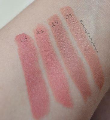 golden rose velvet matte lipstick  10, 26, 27, 03