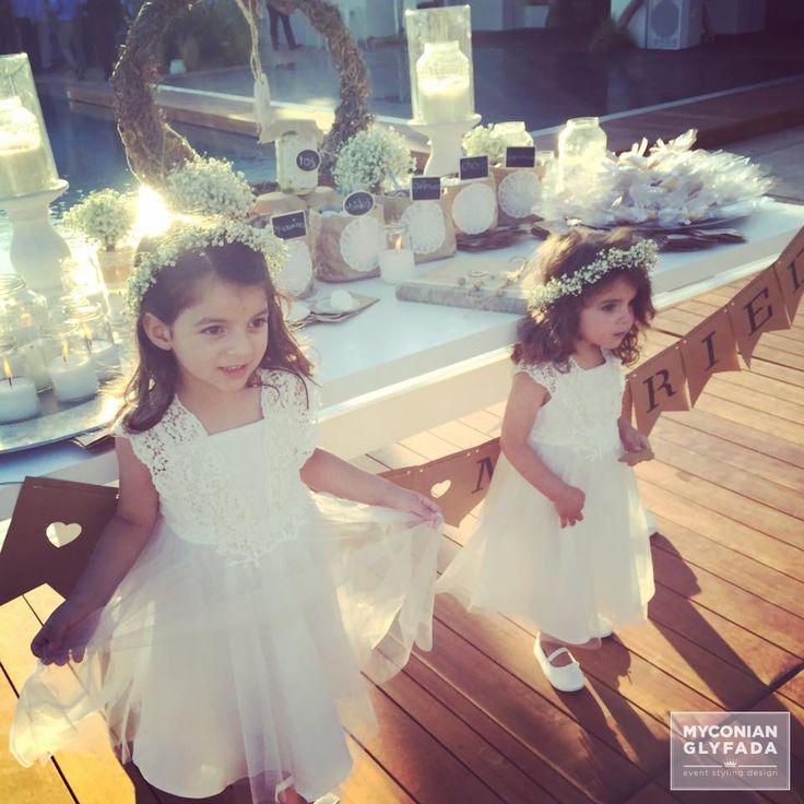 | Beautiful Sunset Wedding | Βασίλης & Κωνσταντίνα |  #greekwedding #sunsetwedding #babybridesmaid #hairaccesory #flowercrowns #welcometable #wishtable #justmarried #candybar #weddingflowers #myconianglyfadawedding
