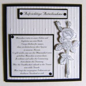 Geprägte Trauerkarten mit Rose und Gedicht - creadoo.com
