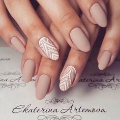 Nude and lace detail nail art