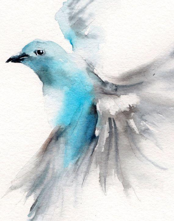 Fliegen Vogel Original Aquarell Vogel-Malerei von CanotStop