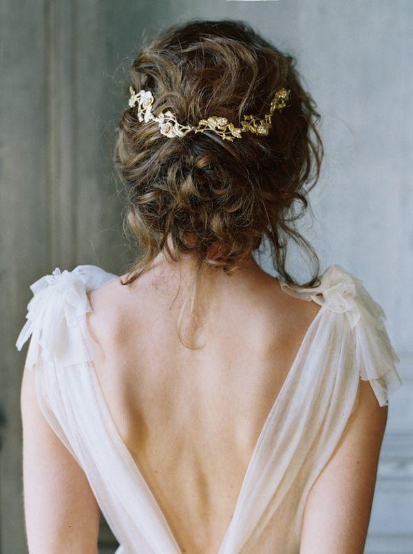 Ethereal Chiffon Wedding Dress with an Open Back and an Elegant Bridal Updo | Laura Gordon Photography | http://heyweddinglady.com/organic-meets-metallic-sage-rose-gold/