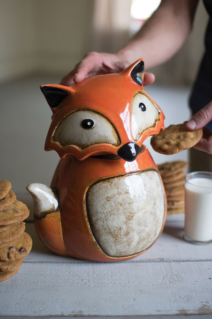 25 best fox decor ideas on pinterest woodland creatures nursery this adorable fox cookie jar makes the perfect kitchen companion with bright colors and a