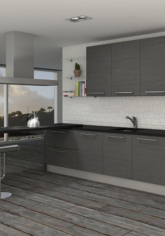 Las 25 mejores ideas sobre cocinas grises en pinterest for Muebles blancos y grises