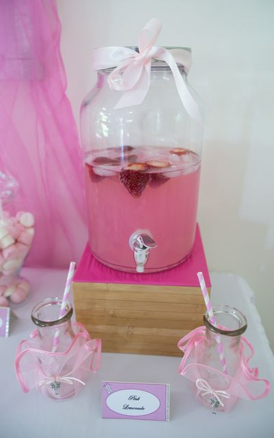Pink drinks at a ballerina party!  See more party ideas at CatchMyParty.com!  #partyideas #ballerina