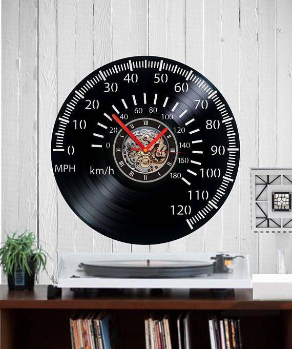 Tachometer Vinyl Clock Speedometer Clock Tachometer Clock Car Tachometer Speedometer Car Clock Car Clock Wall Clock V Car Clock Vinyl Record Clock Record Clock