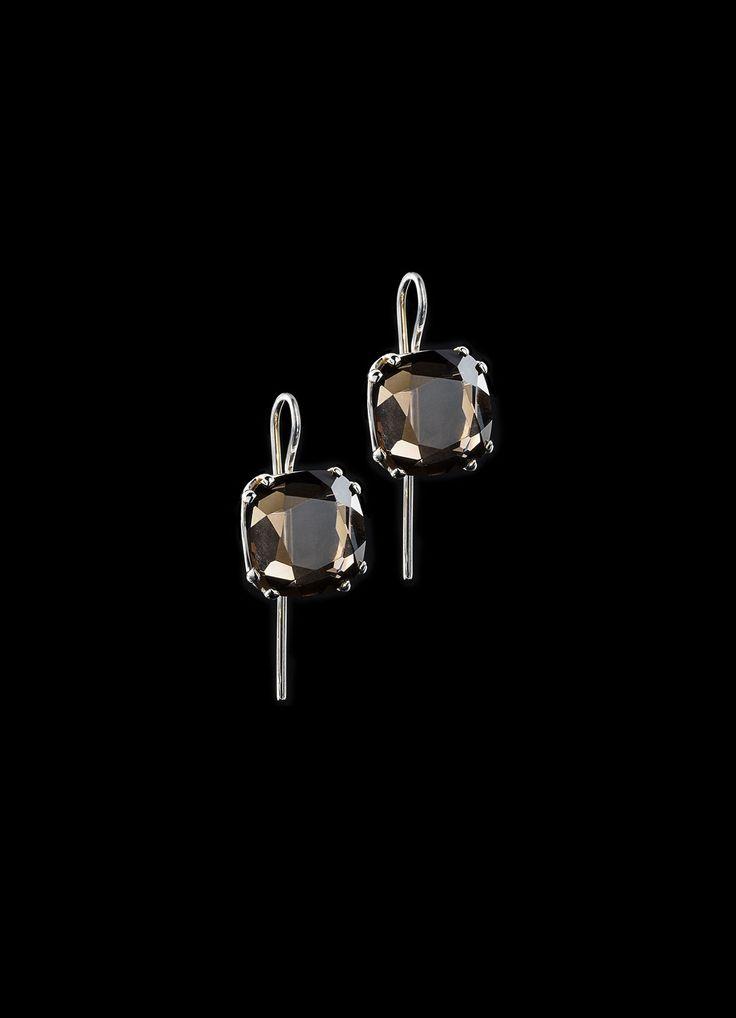 Smokey Topaz Cushion Cut Sterling Earrings