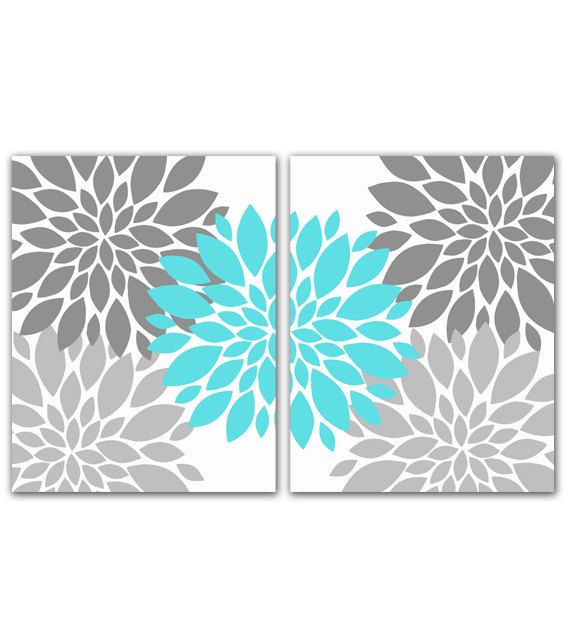 Gray and Tiffany Blue Flower Bursts by PurpleChickletPrints, $40.00