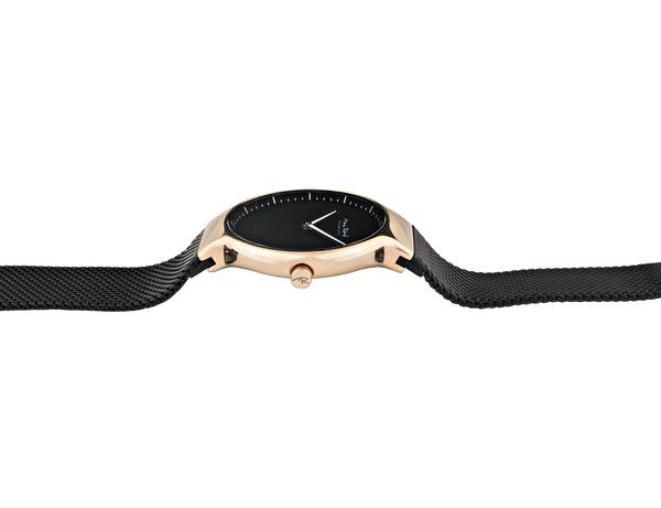 MR104 - Ladies Watch In Rose Gold With Black Mesh Band