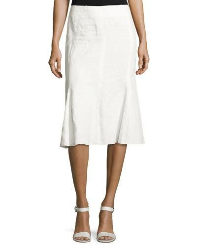 B3MBS Calvin Klein Collection Linen Trumpet-Back Skirt, White
