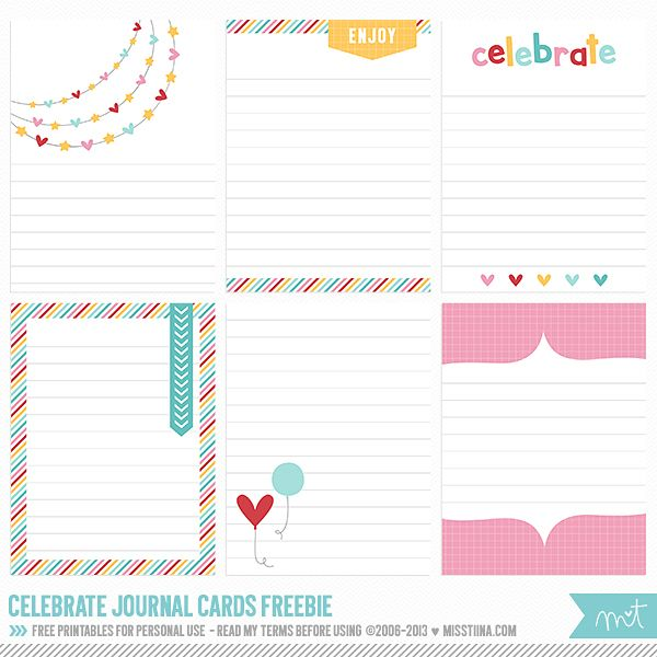 Free printables by MissTiina. Perfect for Project Life. #printables #projectlife