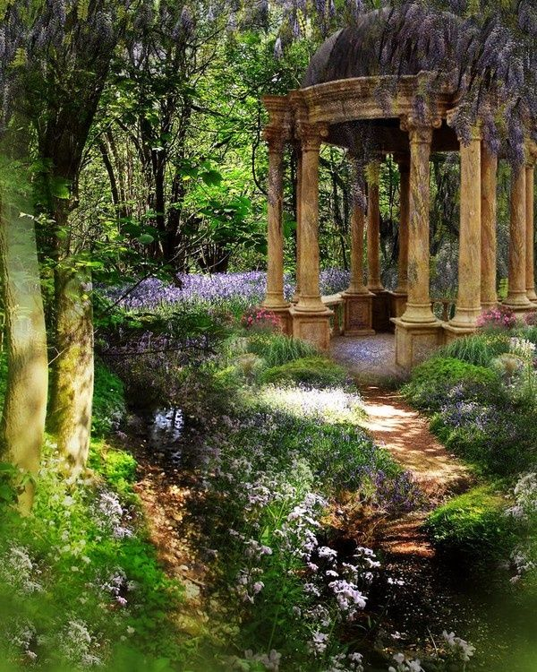beautiful gazebo-garden path.