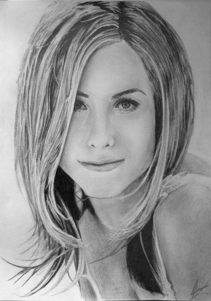Jennifer Aniston fine art pencil drawing portrait