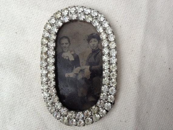 Antique Tin type photo framed in paste rhinestone by funkyjunkmama, $18.50: Types Photo, Photo Frames