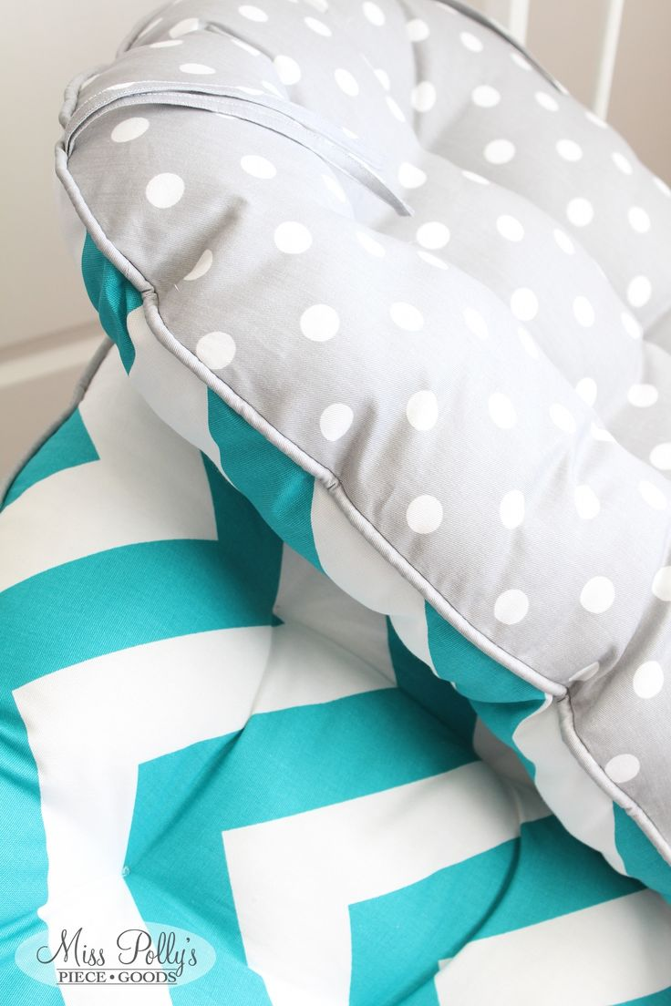 Reversible glider/rocking chair cushions in gray and teal custom made by MissPollysPieceGoods. https://www.etsy.com/listing/178107141/custom-chair-cushions-glider-cushions #chevron #dots #cushions #glider #rockingchair #nursery #misspolly