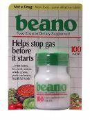 Beano Beano Tablets 100 tab ( Multi-Pack) by Beano. $204.52. 12-unit VALUE PACK of Beano Beano Tablets 100 tab - Helps stop gas before it starts from beans, broccoli, cabbage, onions, peppers, soy products, whole grains, cereals, seeds and more. Beano is a natural enzyme for the digestion of beans and to prevent flatulence and gas. Akpharma Beano. Food Enzyme Dietary Supplement. Helps stop gas before it starts from beans, broccoli, onions, whole grains, pasta and many healthful...