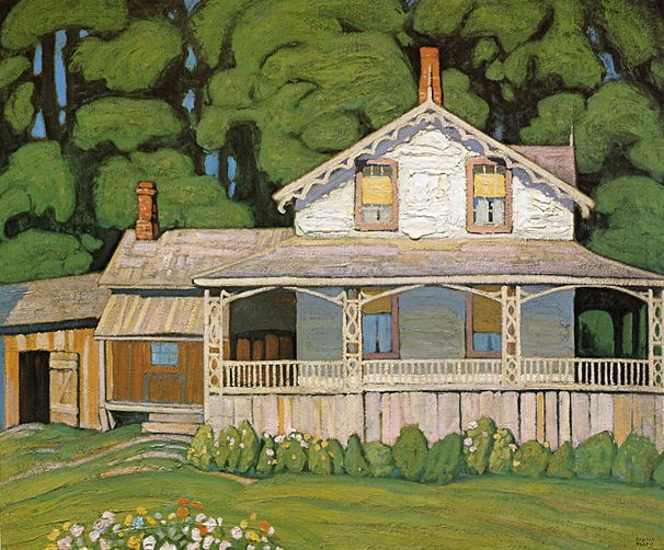 """Lawren Harris - """"A House in Barrie Ontario"""" c.1919; (study for this painting)"""