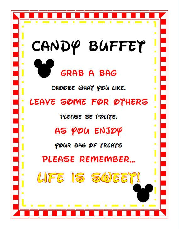 Mickey Mouse Minnie Birthday Baby Shower Party Candy Buffet Sign Printable On Etsy 455
