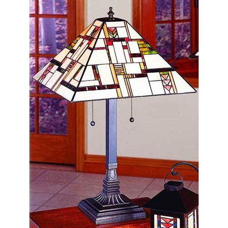 Mondrian influenced craftsman table lamp design.