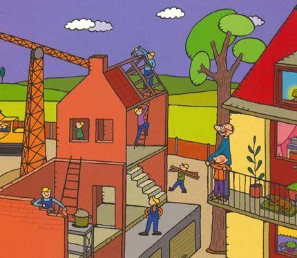 jules kijkt naar een bouwwerf + thema dozen/het huis