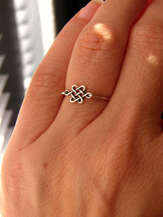 Silver Celtic Knot Ring. Skinny Ring Stack by PeggysPassions