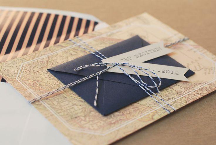 Travel-Inspired-Map-Wedding-Save-the-Date-Twine: Invitations, Ideas Wedding, Travel Inspiration Saving, Beautiful Paper, Vintage Maps, Wedding Flower, Minis Envelopes, Vintage Travel, Bakers Twine