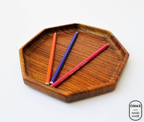 Drevená miska tácka tanier Osemuholník | Octagon Wooden key and wallet tray