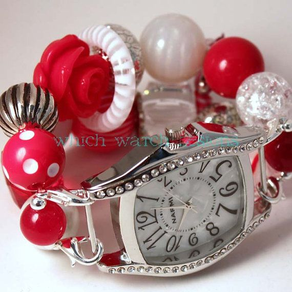 Shabby Chic Candy Cane.. Festive Red and White Chunky Interchangeable Beaded Watch Band