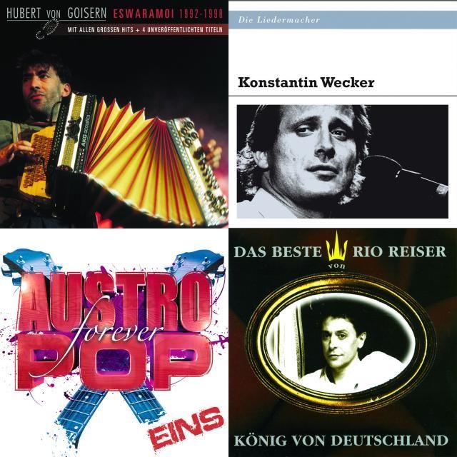 A playlist featuring Hubert von Goisern und die Alpinkatzen, André Heller, Konstantin Wecker, and others