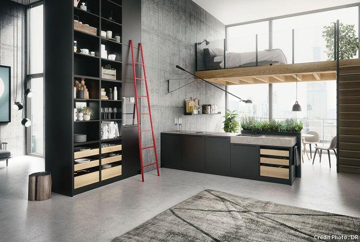 Cuisine ouverte ou cuisine américaine : dans un loft, la cuisine ouverte est une bonne solution. Cette cuisine est équipée avec de nombreuses étagères et du mobilier noir. Elle est surmontée d'une mezzanine avec un lit. Le tout, très lumineux, donne sur un espace extérieur grâce à de nombreuses baies vitrées.