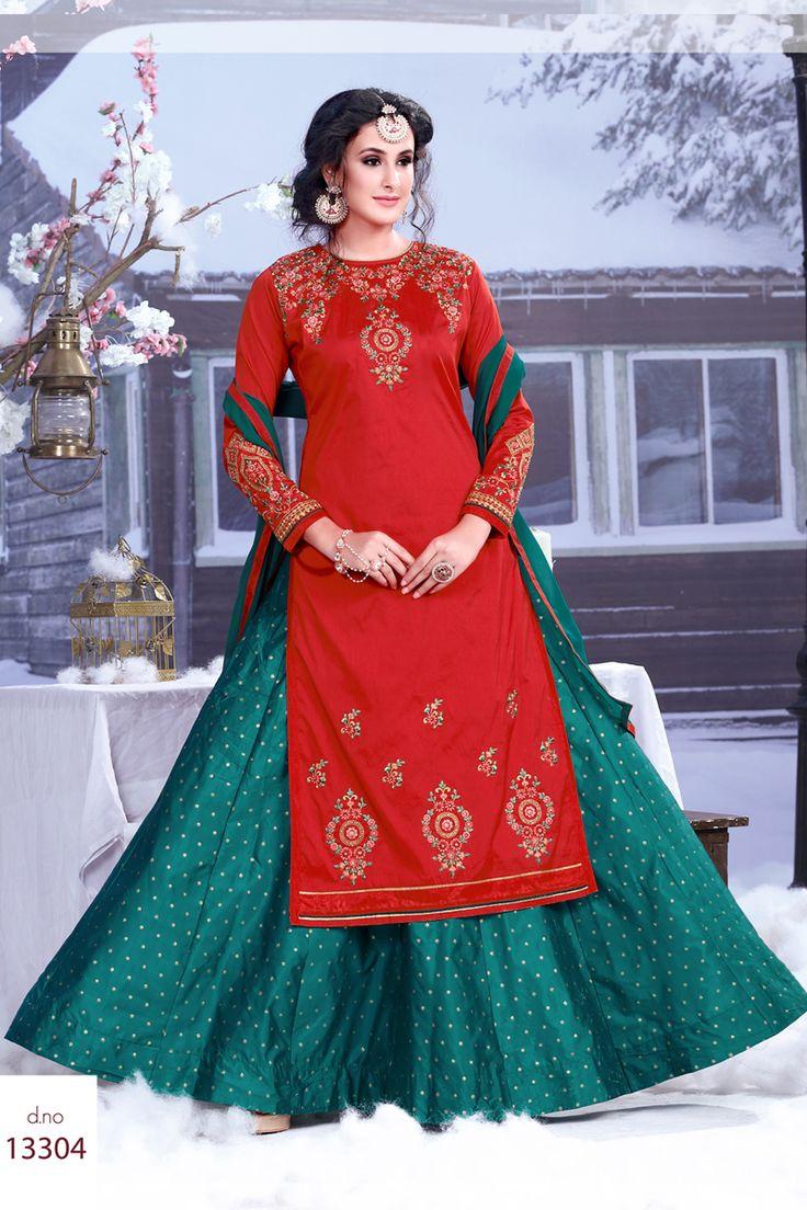 Red-Designer-Festival-And-Wedding-Wear-Indo-Western-Style-Salwar-Kameez-With-Embroidary-Work-Sareen-Riddi-Siddhi-Fashion-Catalog-13304