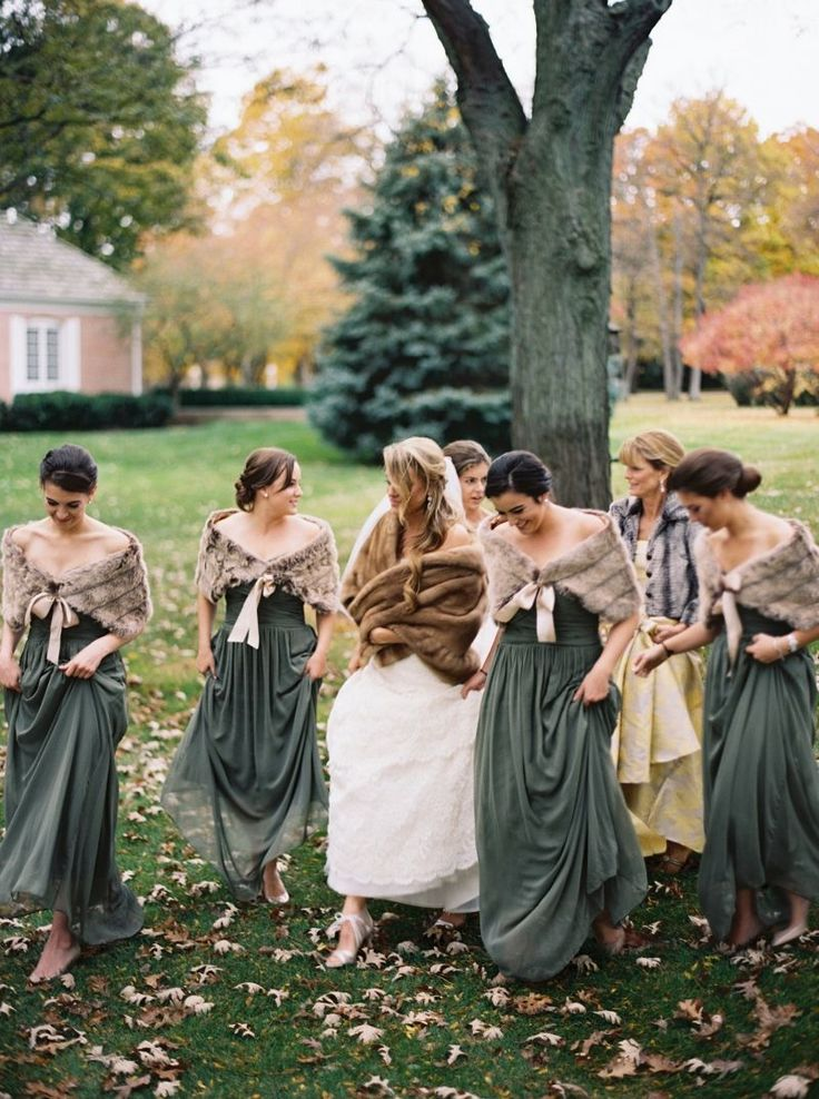 Love the grey with the stoles! Traditional Wisconsin Wedding in warm fall tones via Magnolia Rouge