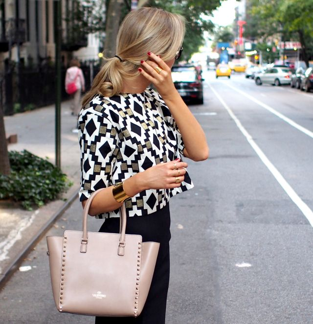 The Classy Cubicle: Crop Top - Corporate Edition. The fashion blog for professional women in need of office style inspiration and work wear ideas for the corporate world and beyond. {gold, white, black, geometric crop top, cap toe pumps, valentino rockstud tote, cuff bracelet, asos, j. crew, kimberly ovitz, prada, zara}