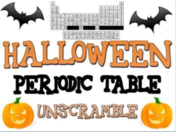 141 best science periodic table images on pinterest physical halloween periodic table unscramble sets of clues for 21 halloween words with separate answer key add and subtract to figure out neutrons urtaz Images