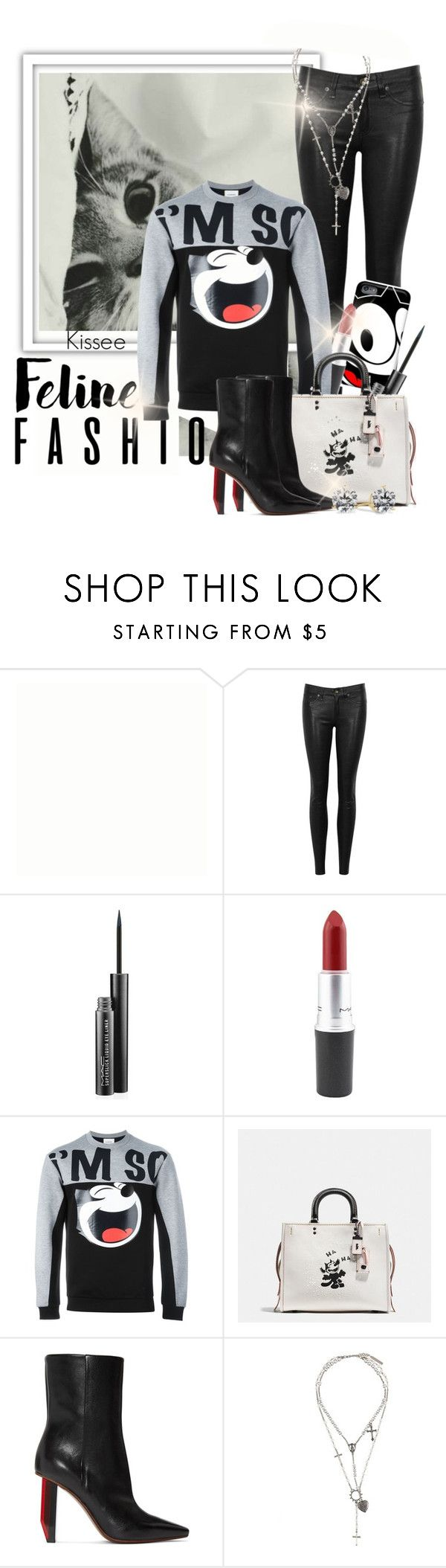 """Untitled #1101"" by kisses4u ❤ liked on Polyvore featuring rag & bone/JEAN, MAC Cosmetics, Iceberg, Coach, Vetements, Givenchy, feline, felixthecat and fall16"