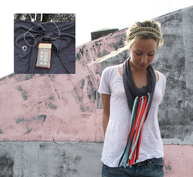 Scarf with built-in pouch for an insulin pump. from Hanky Pancreas.