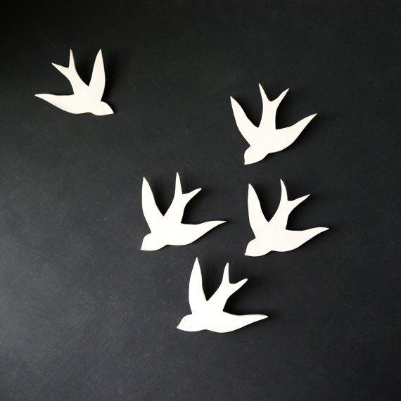 wall art birds set of three handmade porcelain swallows ceramic wall sculpture installation original artwork faux taxidermy handmade pottery - Bird Wall Decor