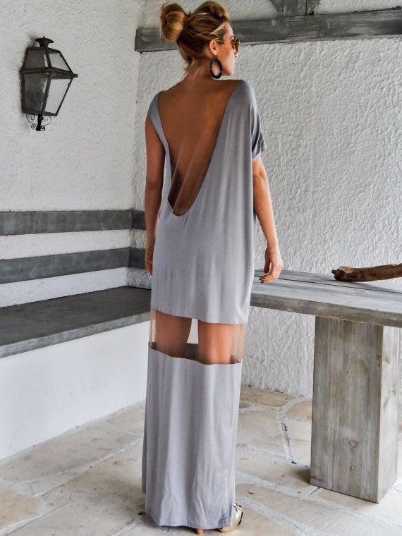 Light Gray Maxi Dress Kaftan with See-Through Details / Asymmetric Dress / Oversize Loose Dress / #35063