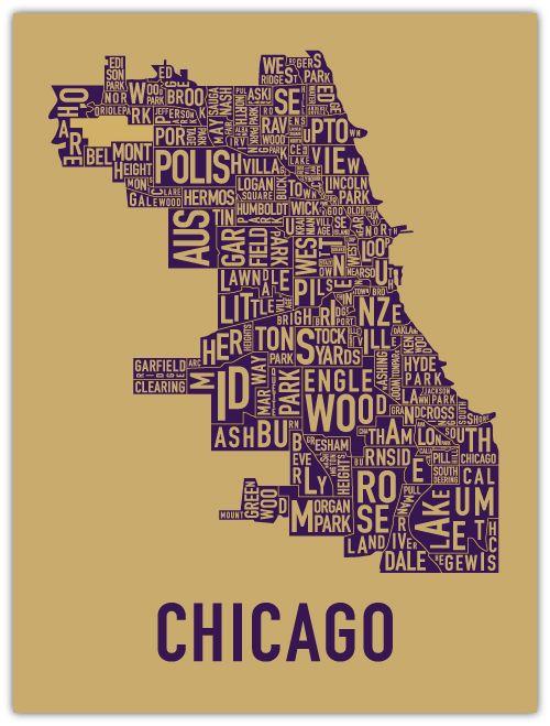 Typography map of Chicago neighborhoods