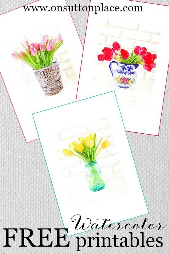 FREE printable spring watercolor prints
