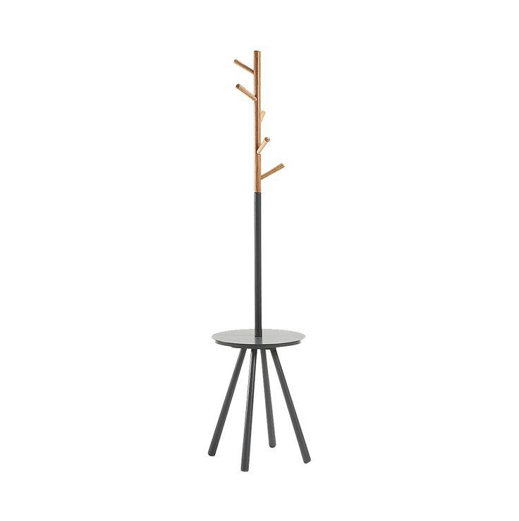 #Perchero de pie en #madera #negra con colgadores de madera #natural