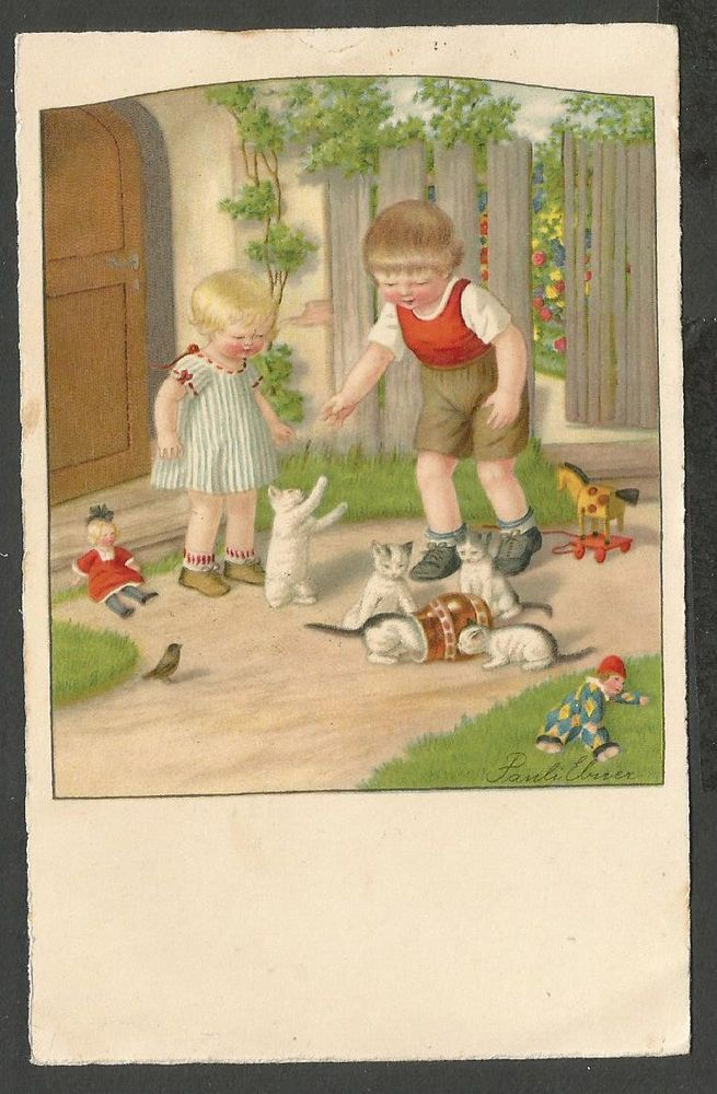 Pauli Ebner, Children Playing with Little Cats, cute old postcard