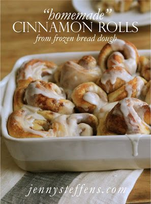 "Easy ""Homemade"" Cinnamon Rolls made from frozen bread dough!    http://jennysteffens.blogspot.com/2011/12/cinnamon-rolls-from-frozen-bread-dough.html"