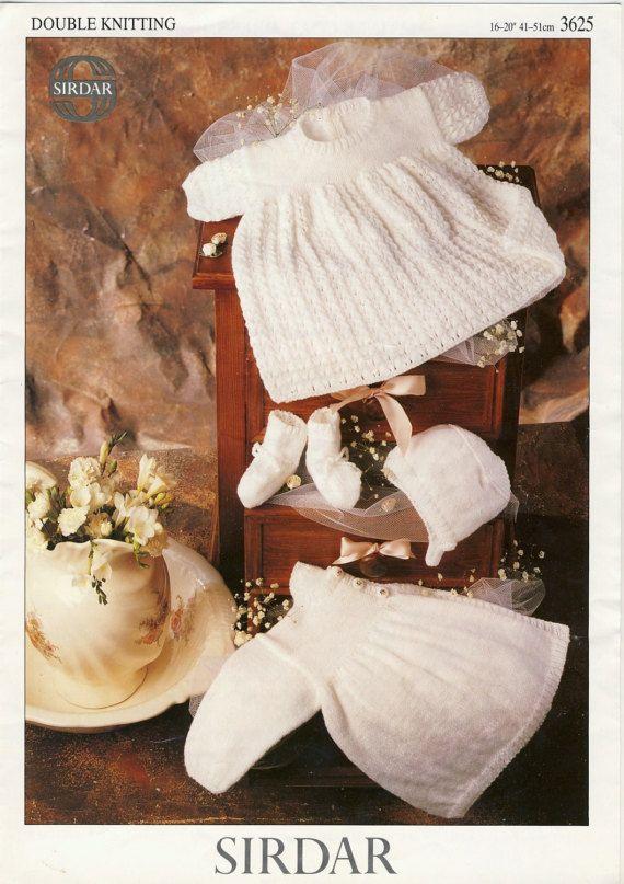 SIRDAR 3625 Baby's Matinee Set Knitting Pattern, by PatternaliaVintage