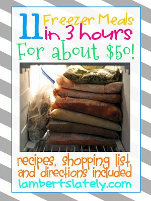 This site has 11 freezer meals you can make in 3 hours for about $50! Pin now, read later! http://www.lambertslately.com/2013/01/freezer-meal-boot-camp-11-meals-in-3.html