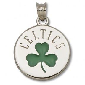 Celtics Shamrock Logo 5/8'' Sterling Silver Enameled Pendant